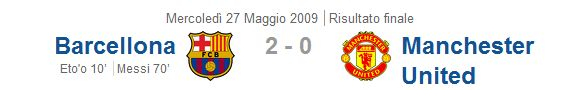 Champions League 2009: Barcellona - Manchester United 2-0