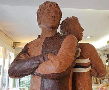 statue cioccolato Cassano e Milito