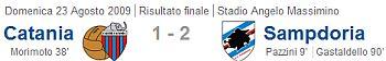 Serie A 2009/10, Giornata 1: Catania - Sampdoria 1-2