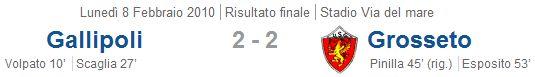 Serie B, Giornata 24, Gallipoli-Grosseto 2-2 (08-02-2010)