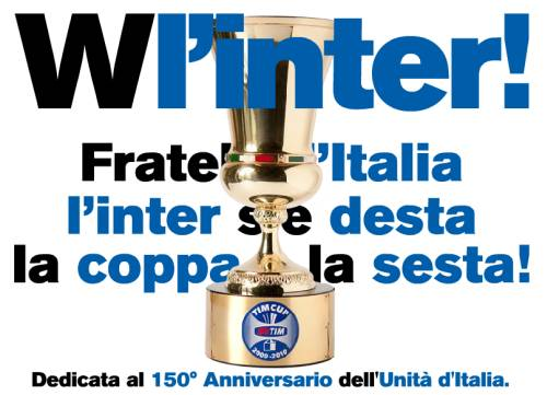 Fratelli d'Italia, l'Italia s'è Desta, la Coppa è la Sesta!