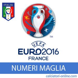 Numeri maglia Italia Europei 2016