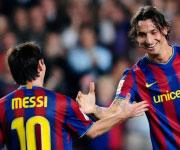 Zlatan Ibrahimovic e Lionel Messi al Barcellona 2009 2010