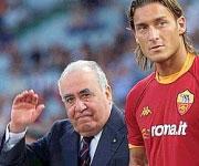 Francesco Totti e Franco Sensi presidente Roma